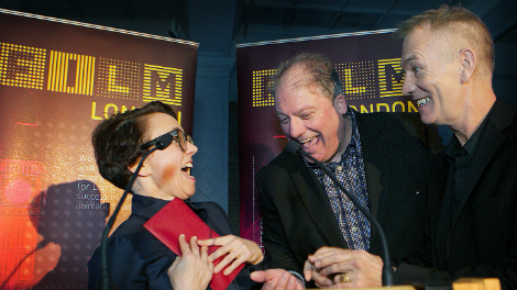 Ursula Mayer collects her prize from Adrian Wootton and John Maybury. Photo by Anna Gordon