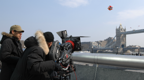 Image of crew filming Ford commercial shoot tower bridge location