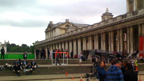 Image of a camera crew filming a period drama in London