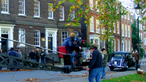 Image of crew camera Poirot shooting street filming