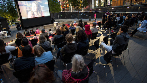 Image of hub Hackney Film Club outdoor screening audience
