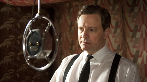 Image of Colin Firth in front of a microphone in The King's Speech