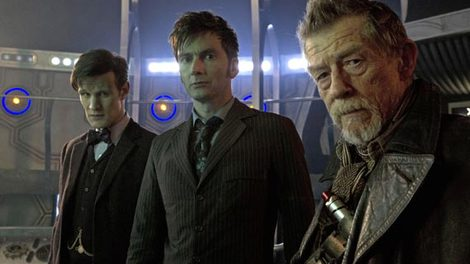 Image of Three Doctors from the history of the show, played by Matt Smith, David Tennant and John Hurt