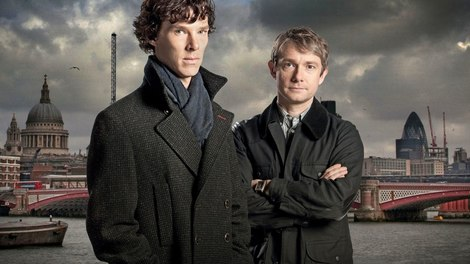 Image of Sherlock - Benedict Cumberbatch as Sherlock and Martin Freeman as Watson in front of Thames