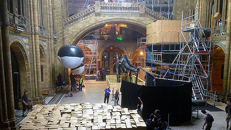 the Natural History Museum's Dippy the Diplodocus surrounded by prep for a live action stunt in Jupiter Ascending