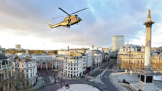 Image of a helicopter flying over Trafalgar Square in Edge of Tomorrow