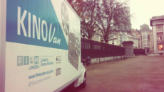 Image of the KinoVan arrives at the British Museum for a special central London screening