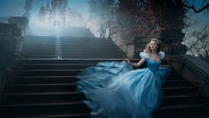 Image of Cinderella descending steps, directed by Kenneth Branagh
